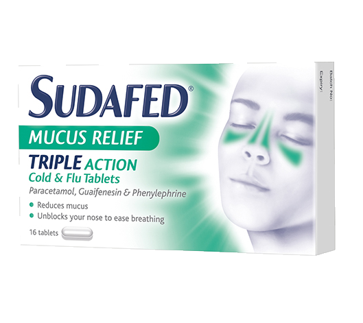 SUDAFED® Mucus Relief Triple Action Cold & Flu Tablets